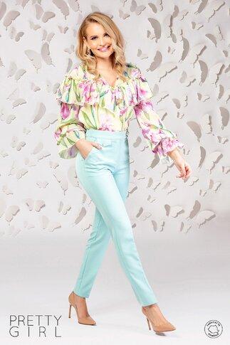 Bluza Pretty Girl galbena cu imprimeu floral si volane