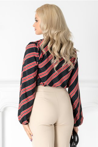 Bluza Pretty neagra cu imprimeu in dungi