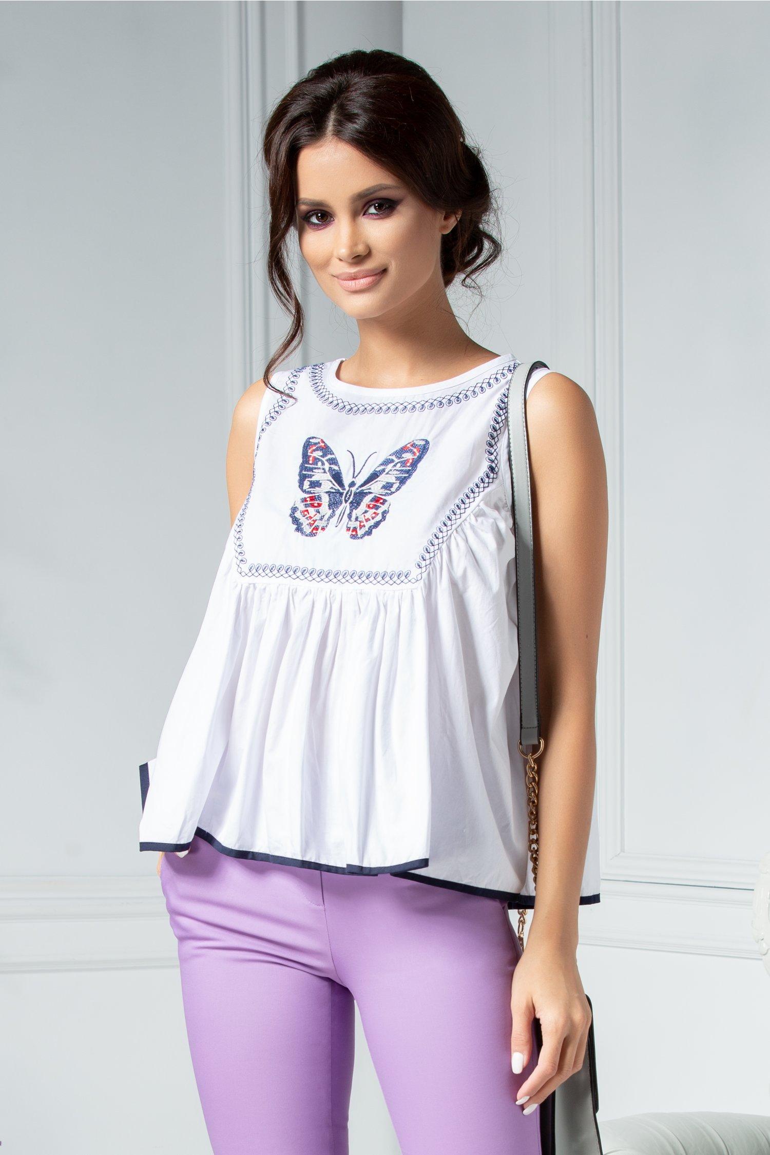 Bluza Priti alba cu fluture brodat