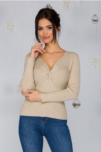 Bluza Rachel bej tricotata cu impletitura si insertii din lurex argintiu
