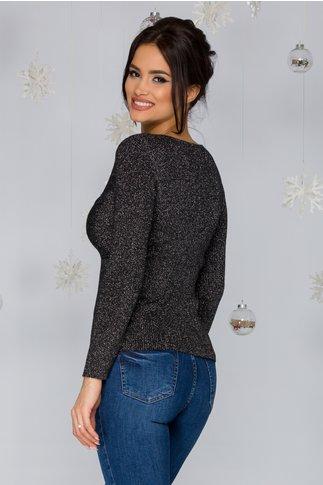Bluza Rachel neagra tricotata cu impletitura si insertii din lurex argintiu