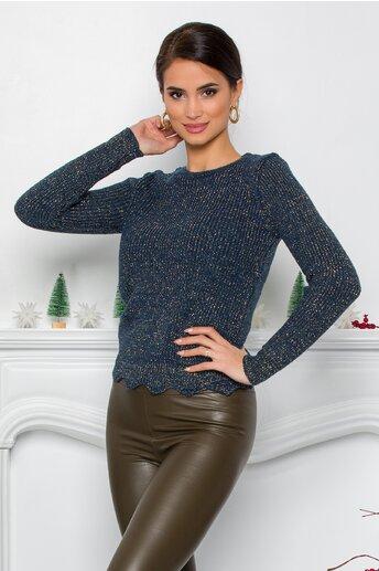 Bluza Ramona bleumarin cu insertii din fir lurex