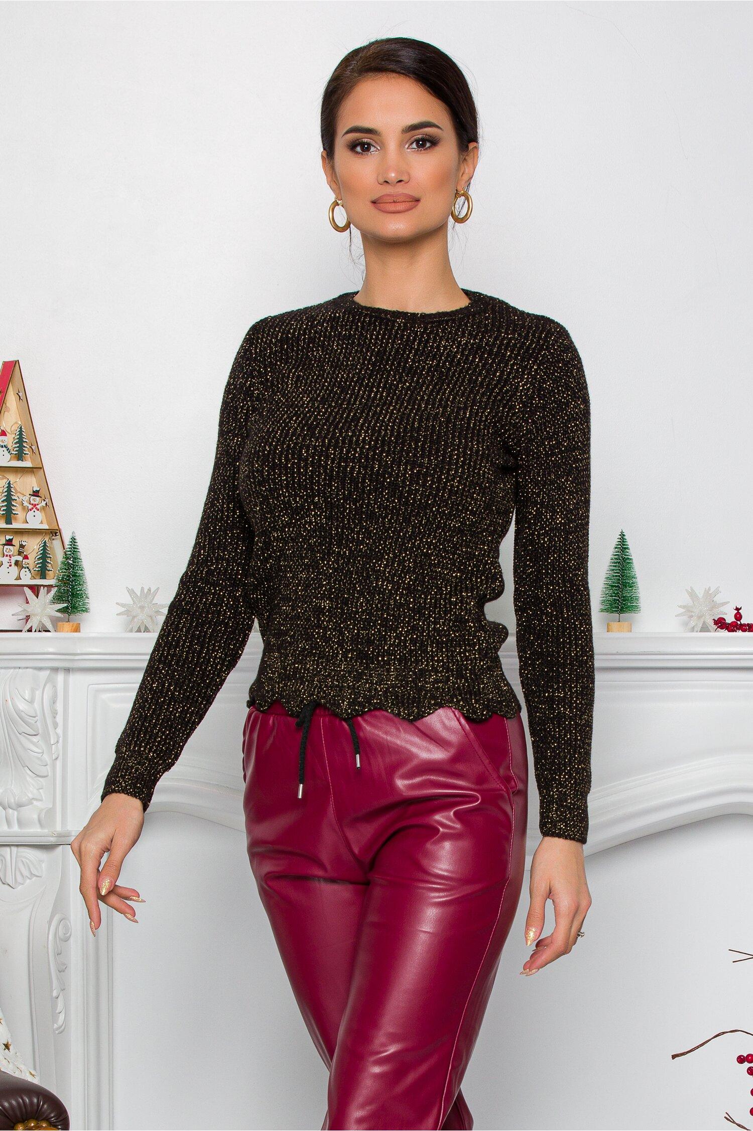 Bluza Ramona neagra cu insertii din fir lurex imagine