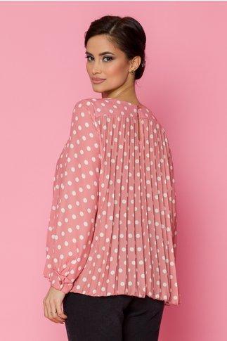 Bluza Reysha lejera cu pliuri roz cu buline