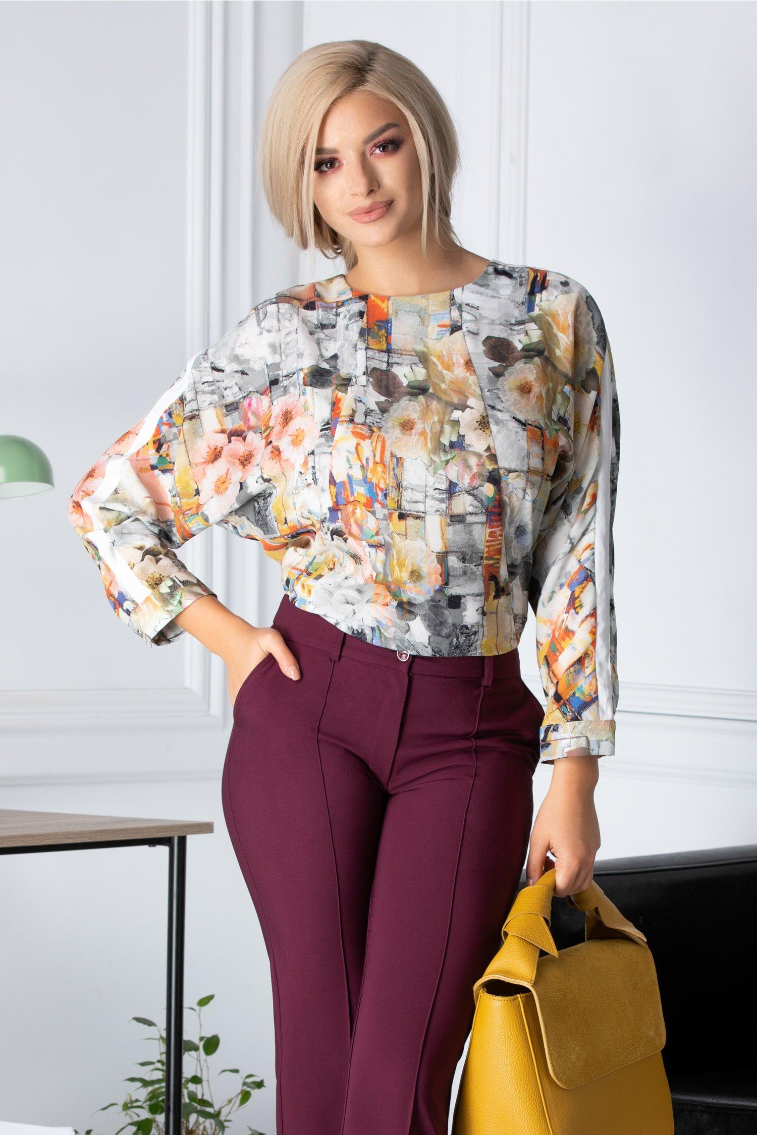 Bluza Rona eleganta cu imprimeu divers pastelat