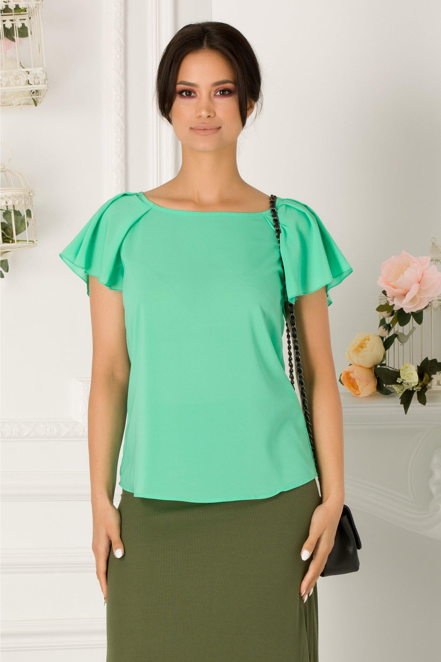 Bluza Rosalia verde vaporoasa cu fundita la spate