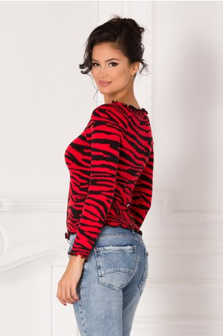 Bluza rosie cu nasturi si imprimeu zebra
