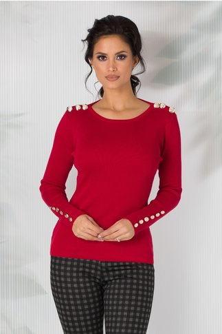 Bluza rosie Linda cu nasturi aurii la umeri si la maneci