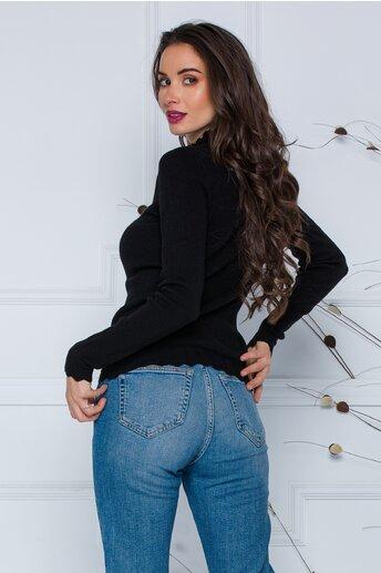 Bluza Roxi neagra cu design stilysh la guler si baza