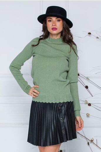 Bluza Roxi vernil cu design stilysh la guler si baza