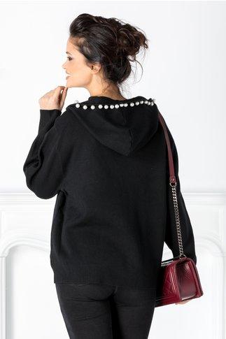 Bluza Roxy neagra cu gluga cu perlute