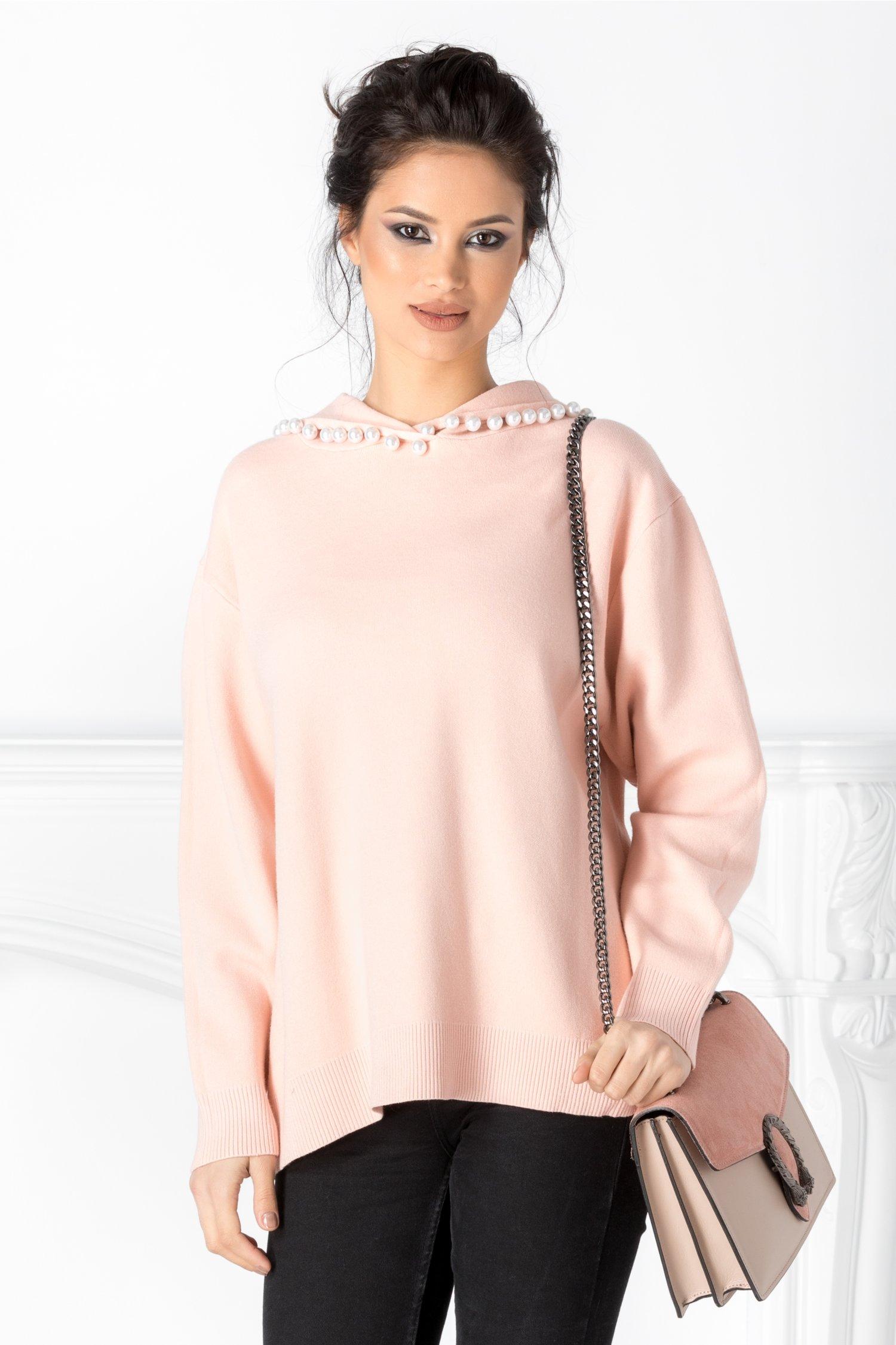 Bluza Roxy roz somon cu gluga cu perlute