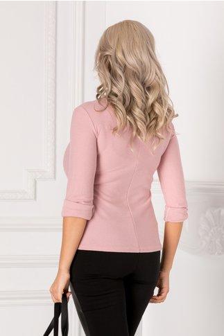 Bluza roz cu floricele tip nasturi la bust