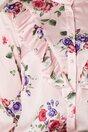 Bluza roz cu imprimeuri florale colorate si volanase la bust