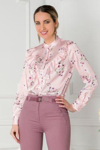 Bluza roz cu imprimeuri florale si volanase la bust