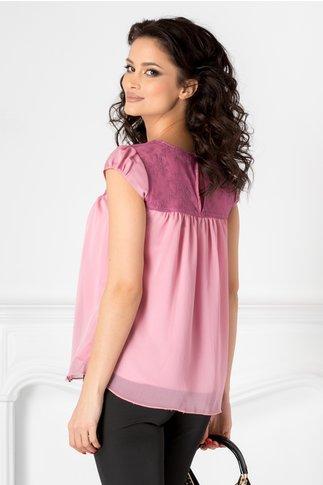 Bluza roz din voal cu dantela lila
