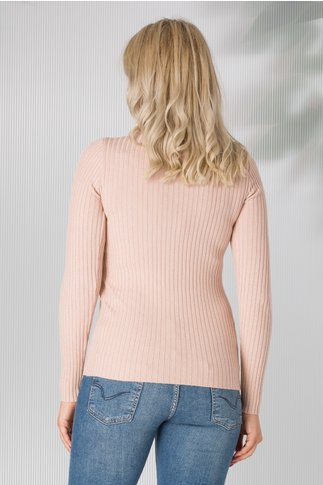 Bluza roze pe gat tip tricot cu sclipici