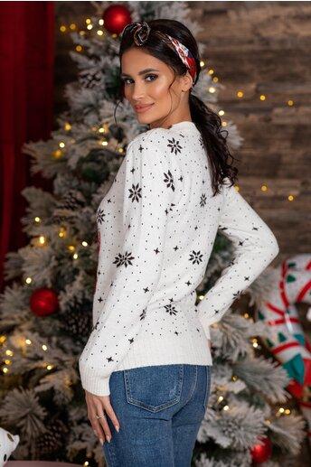 Bluza Rudolf alba cu imprimeu de iarna