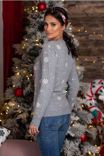Bluza Rudolf gri cu imprimeu de iarna