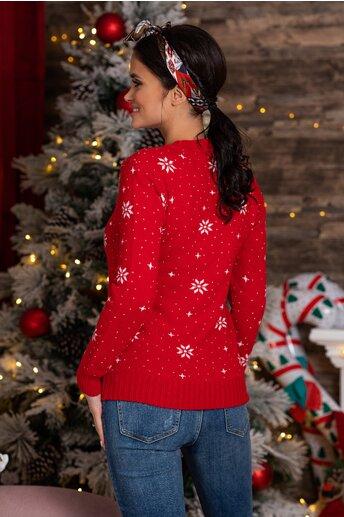 Bluza Rudolf rosie cu imprimeu de iarna