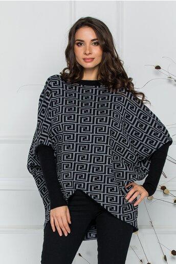 Bluza Rux gri cu imprimeu labirint