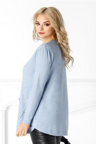 Bluza Sabina bleu cu detalii pe fata