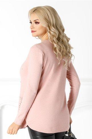Bluza Sabina roz cu detalii pe fata