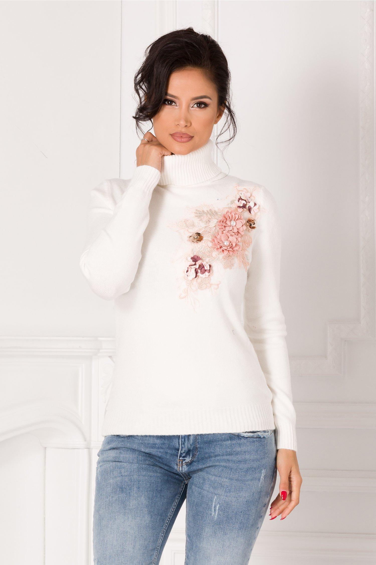 Bluza Sabrina alba cu guler si broderie 3D la bust