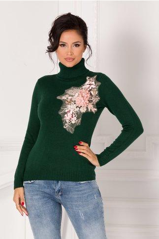 Bluza Sabrina verde inchis cu guler si broderie 3D la bust