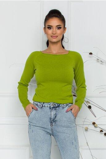 Bluza Sabrina verde lime cu decolteu oval