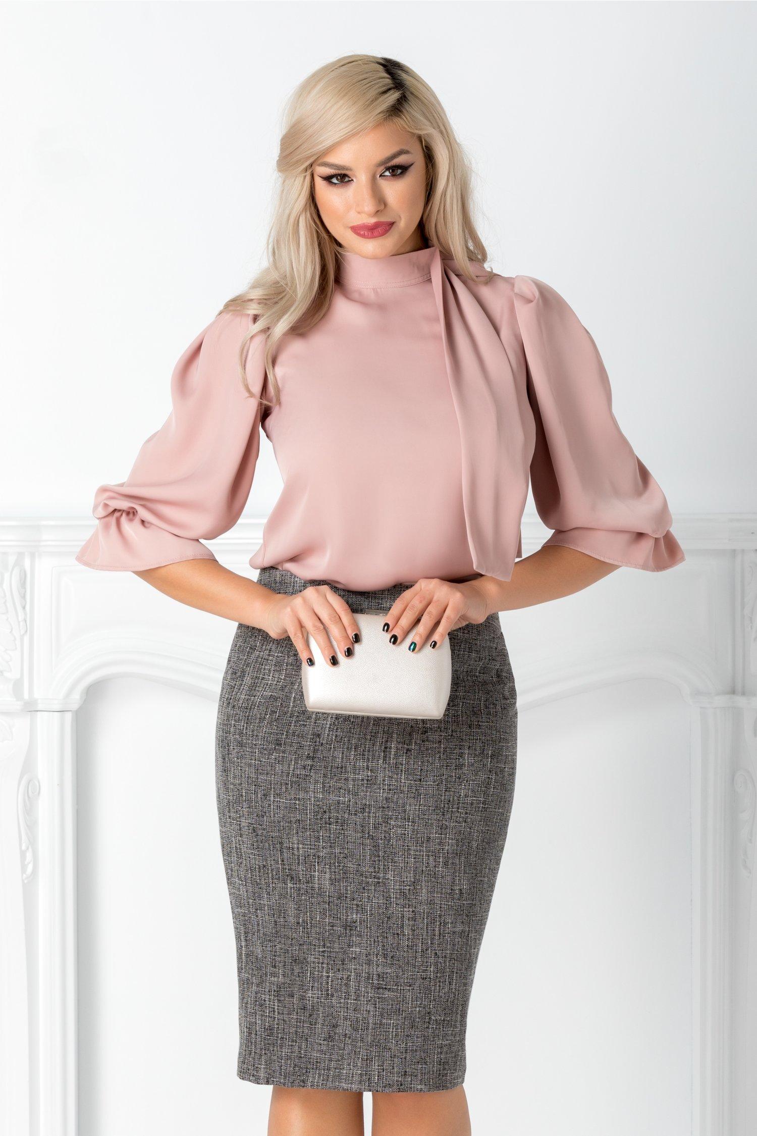 Bluza Sally roz pudrat cu funda la guler