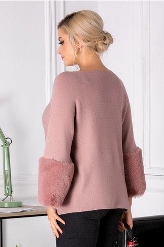 Bluza Saly roz prafuit cu blanita la maneci