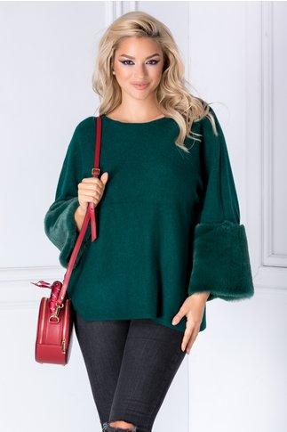 Bluza Saly verde cu blanita la maneci