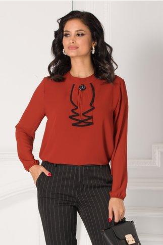 Bluza Samia caramizie cu volane la guler