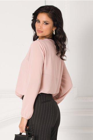 Bluza Samia roz cu volane la guler