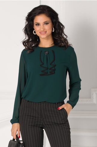 Bluza Samia verde inchis cu volane la guler