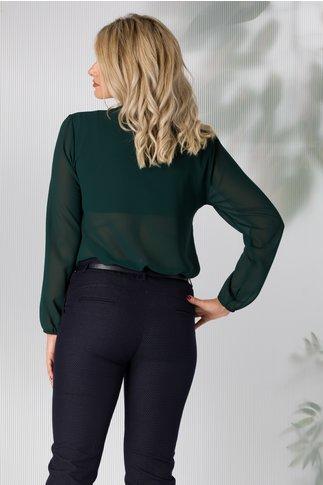Bluza Samia verde inchis cu volane tip cravata la decolteu
