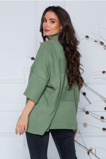 Bluza Sara olive lejera din tricot cu maneci scurte