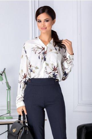 Bluza Selena alba cu imprimeu floral
