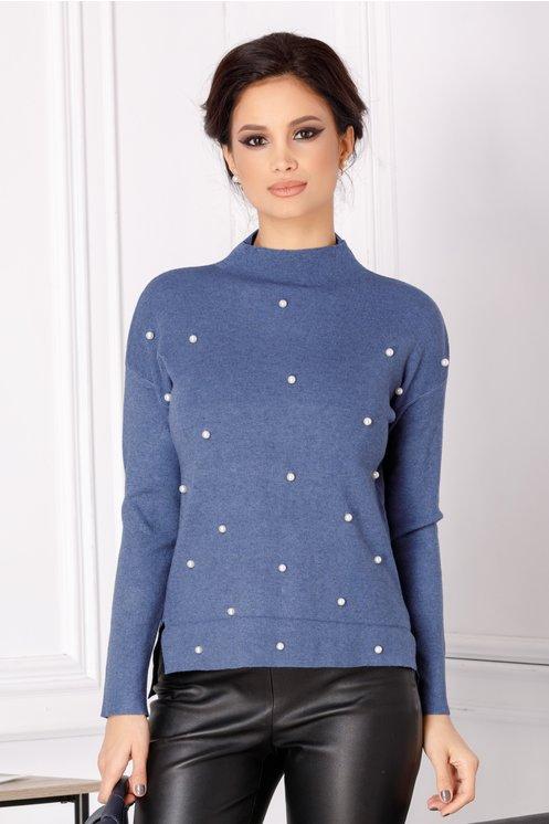 Bluza Selena albastra cu perlute