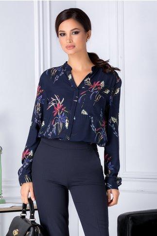 Bluza Selena bleumarin cu imprimeu floral