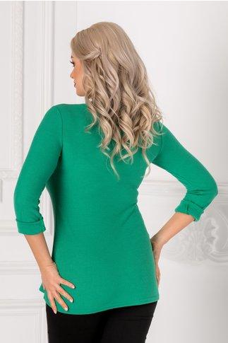 Bluza Serena verde cu  perlute la bust