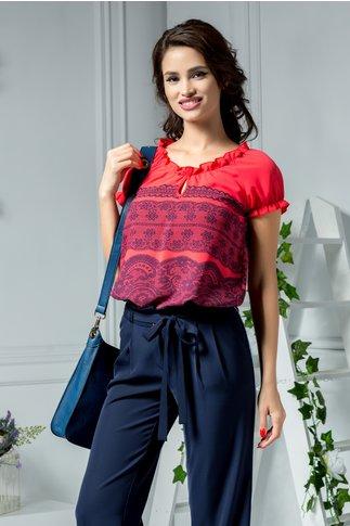 Bluza Sherry corai cu imprimeu tip datenla