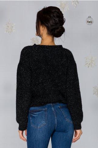 Bluza Shine neagra cu insertii din fir lurex stralucitor