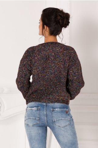 Bluza Shine neagra cu insertii multicolore stralucitoare