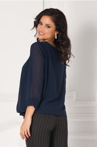 Bluza Simi bleumarin cu aplicatie tip colier