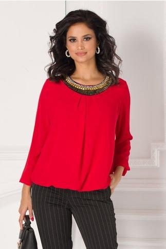 Bluza Simi rosie cu aplicatie tip colier