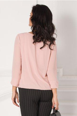 Bluza Simi roz cu aplicatie tip colier