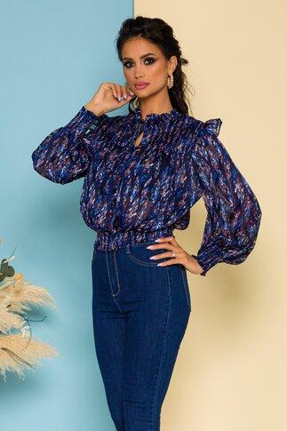 Bluza Simina bleumarin cu imprimeuri albastre