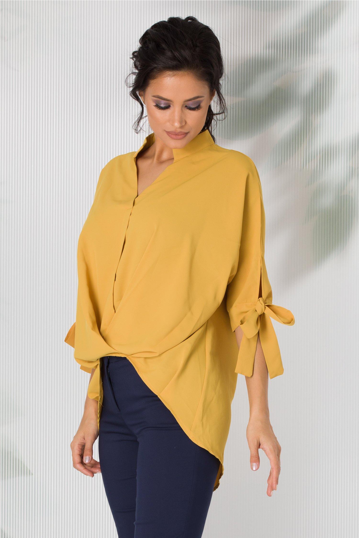 Bluza Simina galbena cu design petrecut